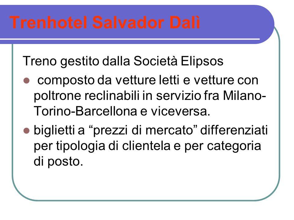 Trenhotel Salvador Dalì Treno gestito dalla Società Elipsos composto da vetture letti e vetture con poltrone reclinabili in servizio fra Milano- Torin