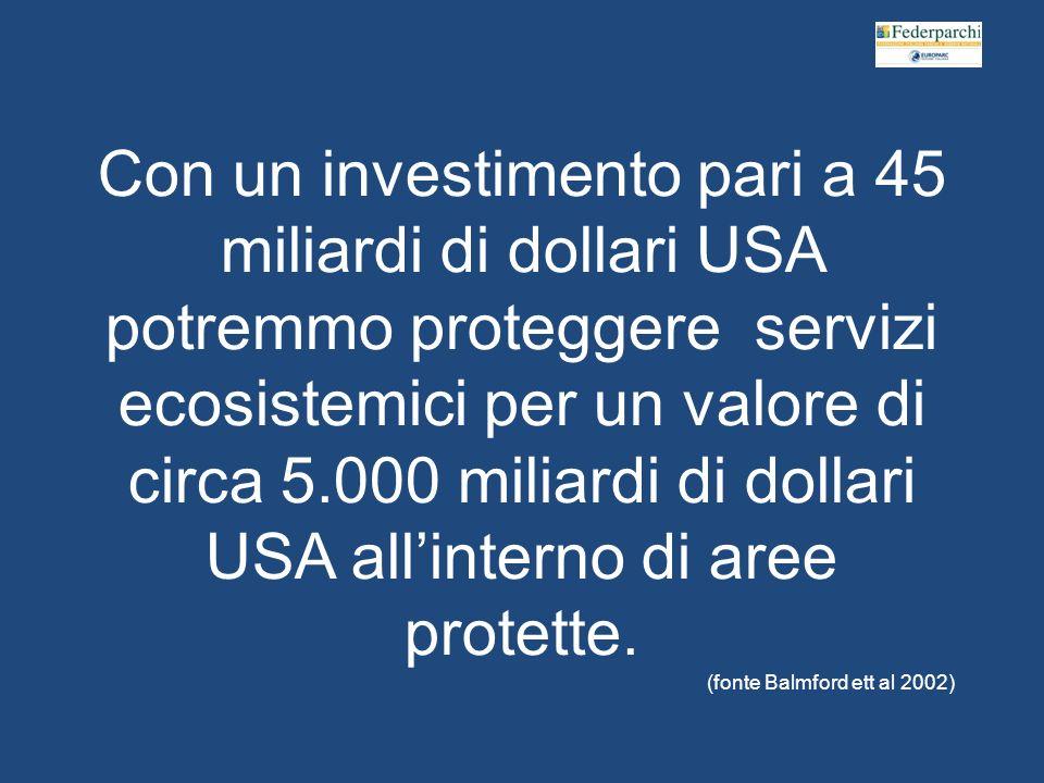 Con un investimento pari a 45 miliardi di dollari USA potremmo proteggere servizi ecosistemici per un valore di circa 5.000 miliardi di dollari USA allinterno di aree protette.