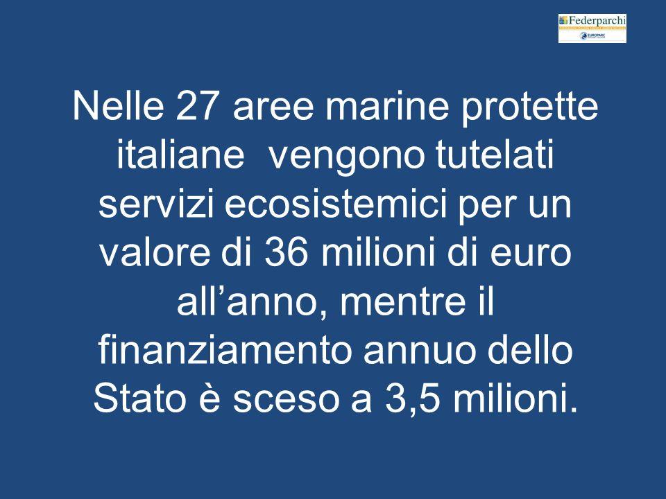 Nelle 27 aree marine protette italiane vengono tutelati servizi ecosistemici per un valore di 36 milioni di euro allanno, mentre il finanziamento annuo dello Stato è sceso a 3,5 milioni.