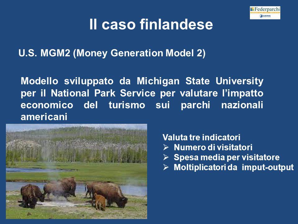 Il caso finlandese Modello sviluppato da Michigan State University per il National Park Service per valutare limpatto economico del turismo sui parchi nazionali americani Valuta tre indicatori Numero di visitatori Spesa media per visitatore Moltiplicatori da imput-output U.S.