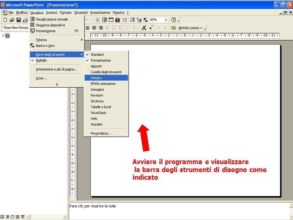 Avviare il programma e visualizzare la barra degli strumenti di disegno come indicato