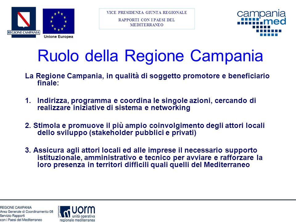 Ruolo della Regione Campania La Regione Campania, in qualità di soggetto promotore e beneficiario finale: 1.Indirizza, programma e coordina le singole