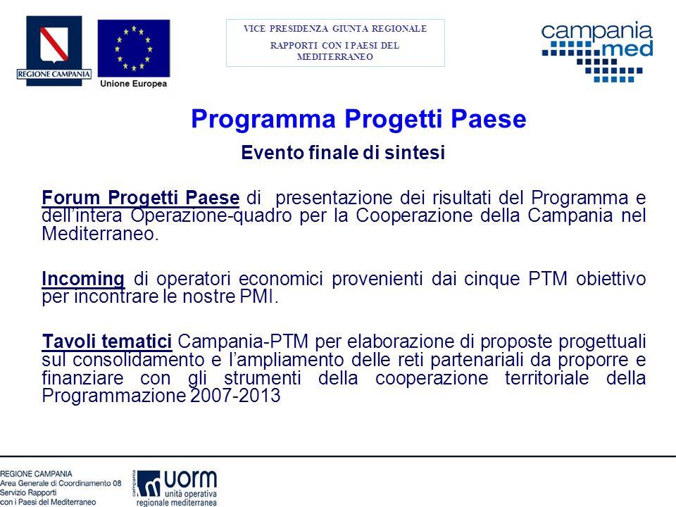 Programma Progetti Paese Evento finale di sintesi Forum Progetti Paese di presentazione dei risultati del Programma e dellintera Operazione-quadro per