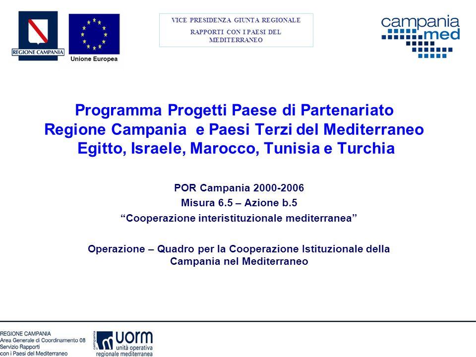 Programma Progetti Paese di Partenariato Regione Campania e Paesi Terzi del Mediterraneo Egitto, Israele, Marocco, Tunisia e Turchia VICE PRESIDENZA G