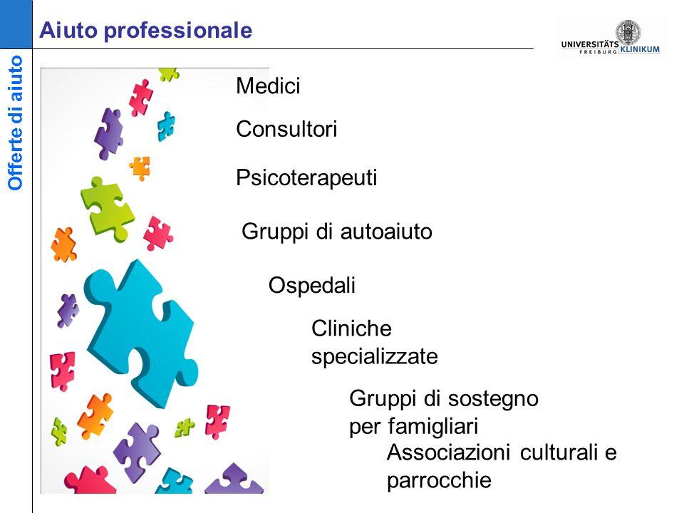Aiuto professionale Cliniche specializzate Associazioni culturali e parrocchie Offerte di aiuto Ospedali Gruppi di sostegno per famigliari Medici Consultori Psicoterapeuti Gruppi di autoaiuto