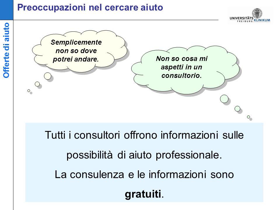Preoccupazioni nel cercare aiuto Tutti i consultori offrono informazioni sulle possibilità di aiuto professionale.