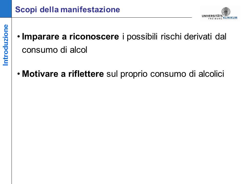 Imparare a riconoscere i possibili rischi derivati dal consumo di alcol Motivare a riflettere sul proprio consumo di alcolici Scopi della manifestazione Introduzione