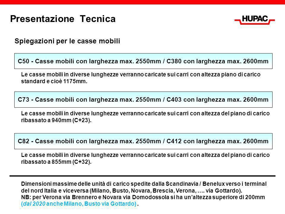 Presentazione Tecnica Spiegazioni per le casse mobili Le casse mobili in diverse lunghezze verranno caricate sui carri con altezza piano di carico sta
