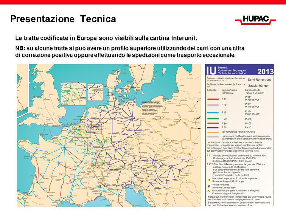 Presentazione Tecnica Le tratte codificate in Europa sono visibili sulla cartina Interunit. NB: su alcune tratte si può avere un profilo superiore uti