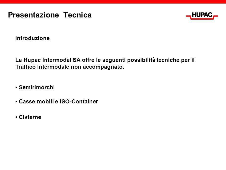 Presentazione Tecnica Introduzione La Hupac Intermodal SA offre le seguenti possibilità tecniche per il Traffico Intermodale non accompagnato: Casse m