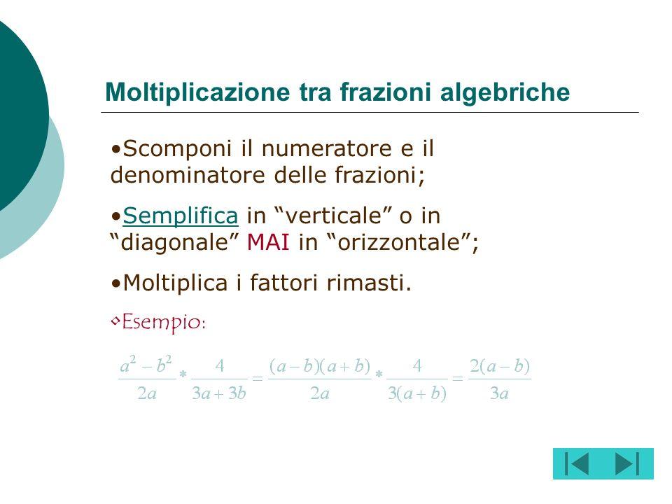 Procedi nel seguente modo: Scomponi i denominatori di ciascuna frazione;denominatori Calcola il m.c.m. tra i denominatori;m.c.m. Dividi il m.c.m. per