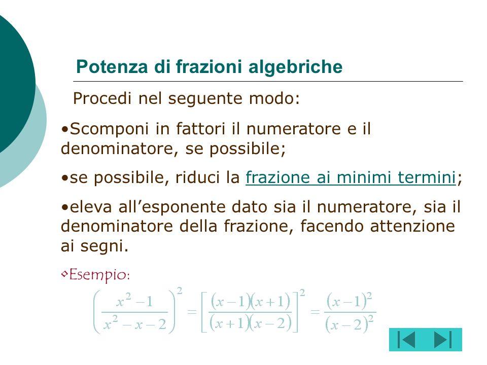 Procedi nel seguente modo: Scomponi i numeratori e i denominatori; Inverti la seconda frazione; Semplifica in verticale o in diagonale MAI in orizzont