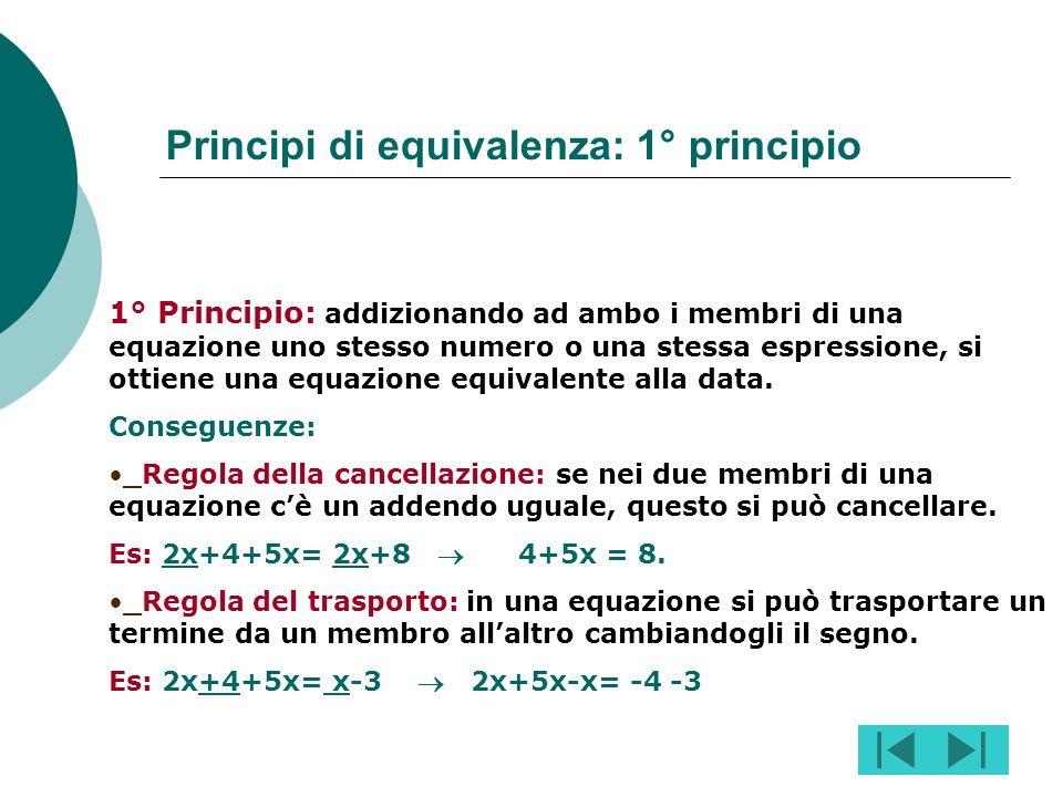 Risolvere unequazione significa trovare quei valori da dare alla lettera incognita in modo che leguaglianza risulti verificata. Es: la soluzione delle