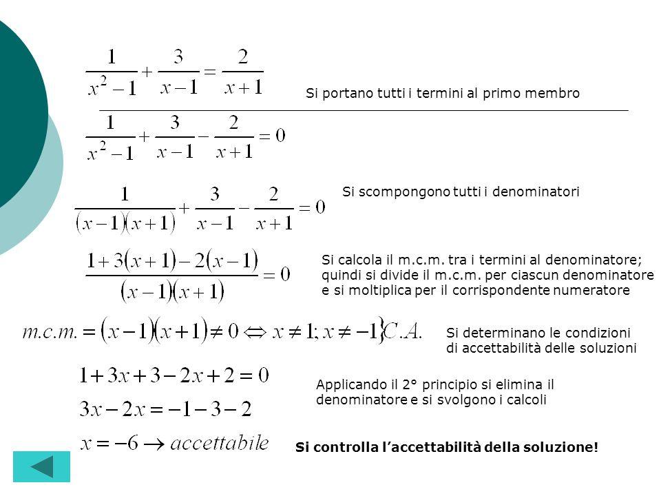 E conveniente portare tutti i termini dellequazione al primo membro. Si scompongono in fattori i denominatori che figurano nellequazione. Si calcola i