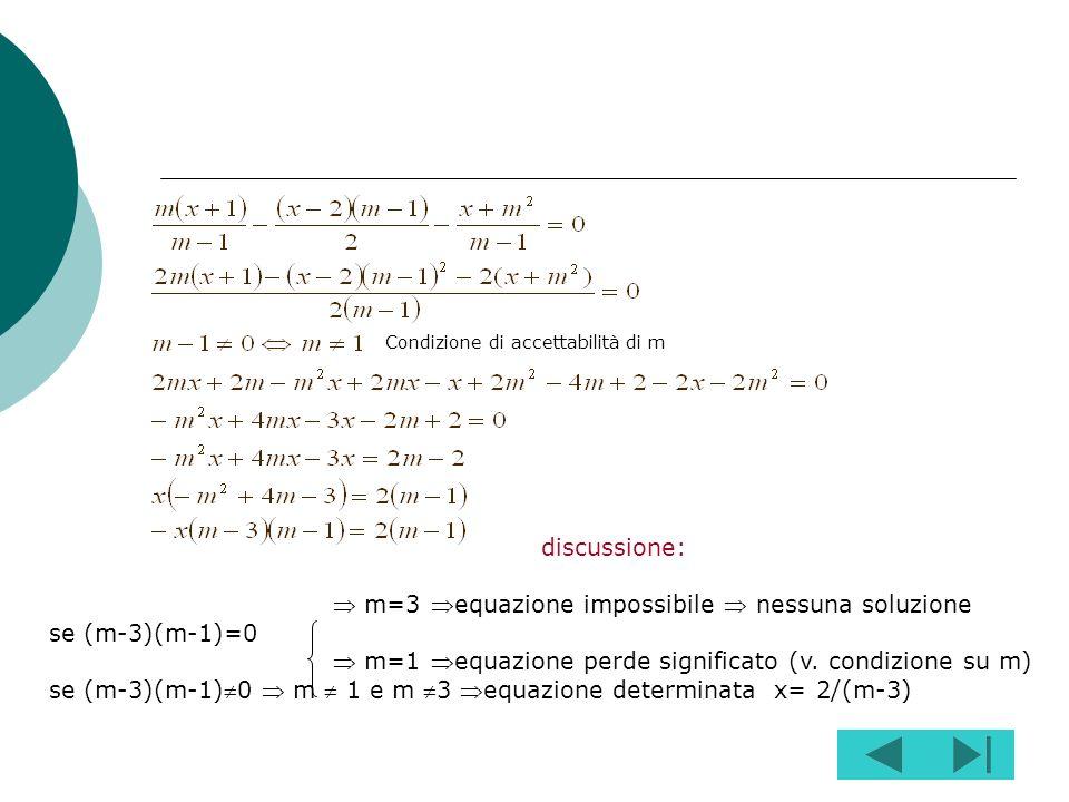 Svolgi gli eventuali prodotti indicati e libera lequazione dai denominatori se questi sono presenti (se i denominatori sono numerici si sopprimono sem