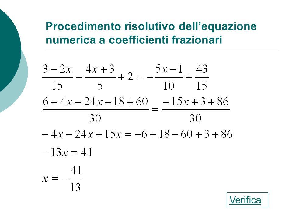 Procedimento risolutivo dellequazione numerica intera Verifica