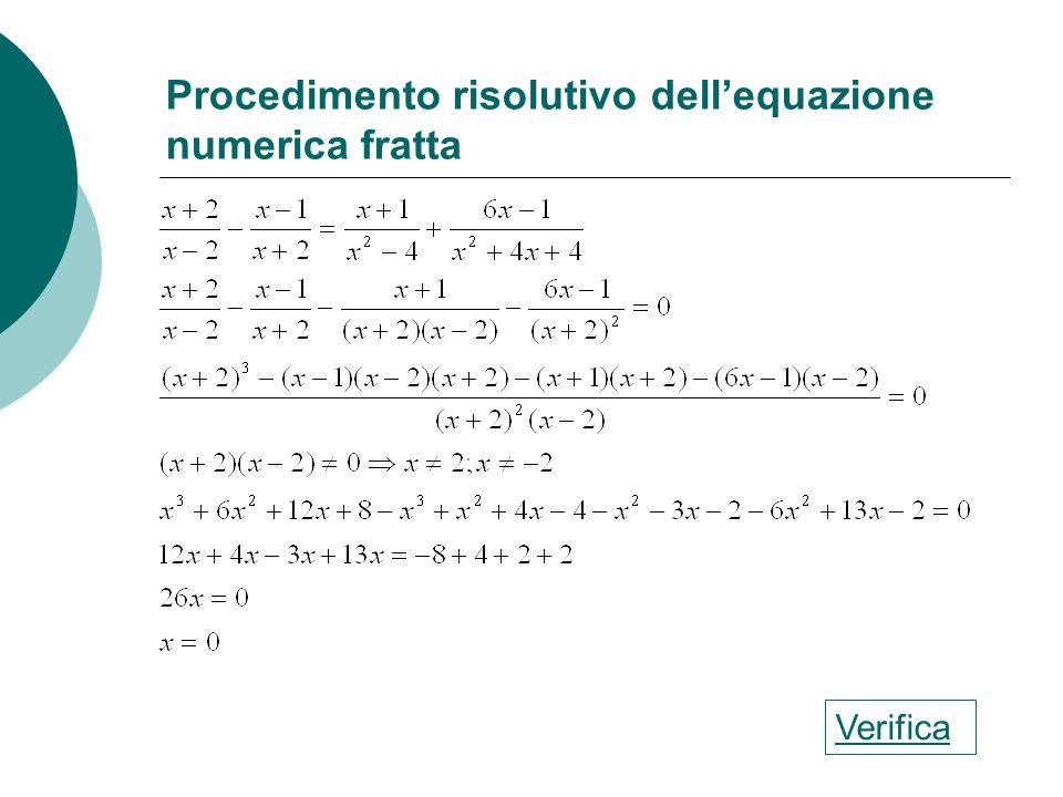 Procedimento risolutivo dellequazione numerica a coefficienti frazionari Verifica