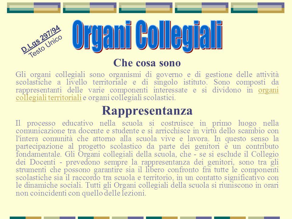 Che cosa sono Gli organi collegiali sono organismi di governo e di gestione delle attività scolastiche a livello territoriale e di singolo istituto. S