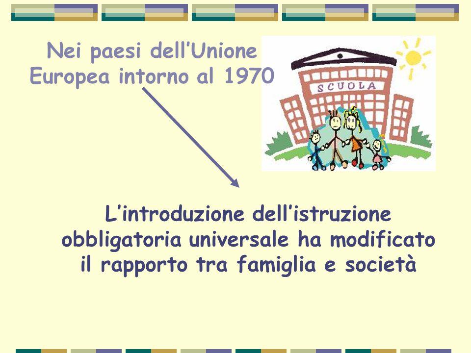 Nei paesi dellUnione Europea intorno al 1970 Lintroduzione dellistruzione obbligatoria universale ha modificato il rapporto tra famiglia e società
