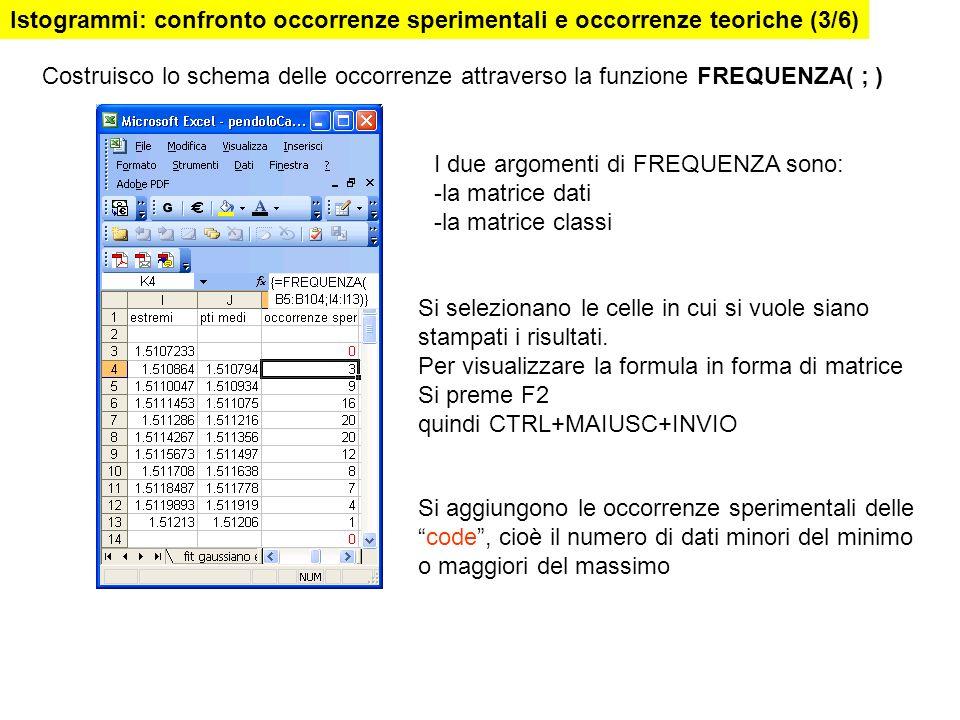 I due argomenti di FREQUENZA sono: -la matrice dati -la matrice classi Si selezionano le celle in cui si vuole siano stampati i risultati. Per visuali