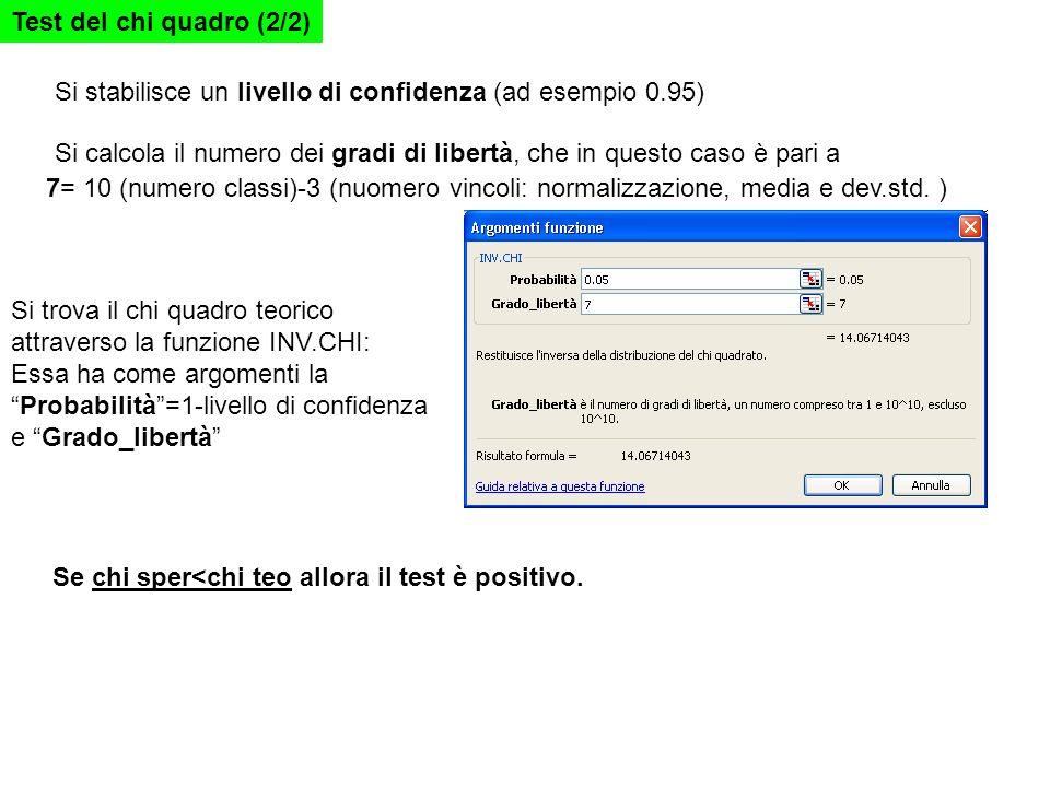 Si stabilisce un livello di confidenza (ad esempio 0.95) Si calcola il numero dei gradi di libertà, che in questo caso è pari a 7= 10 (numero classi)-