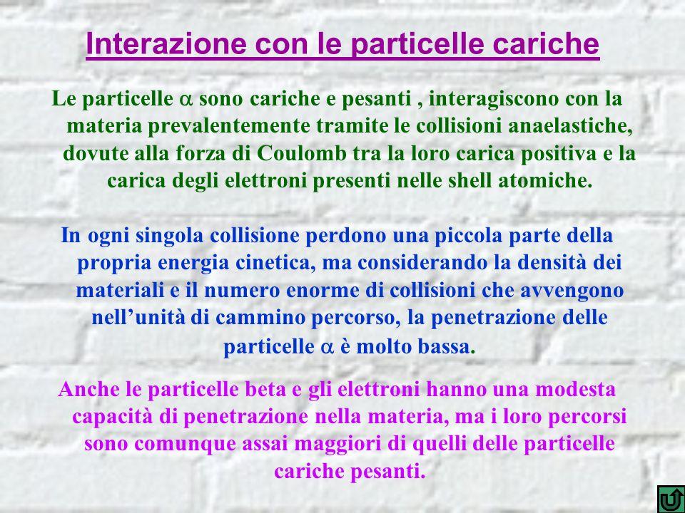 Interazione con le particelle cariche Le particelle sono cariche e pesanti, interagiscono con la materia prevalentemente tramite le collisioni anaelas