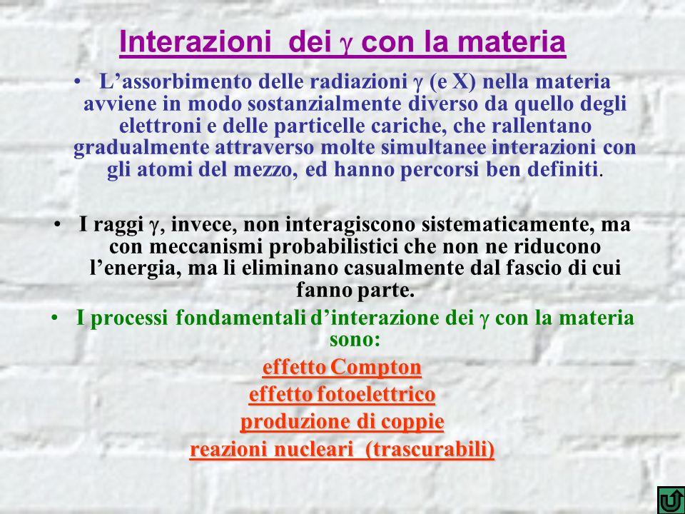 Interazioni dei con la materia Lassorbimento delle radiazioni (e X) nella materia avviene in modo sostanzialmente diverso da quello degli elettroni e