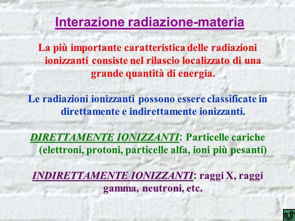 La più importante caratteristica delle radiazioni ionizzanti consiste nel rilascio localizzato di una grande quantità di energia. Le radiazioni ionizz