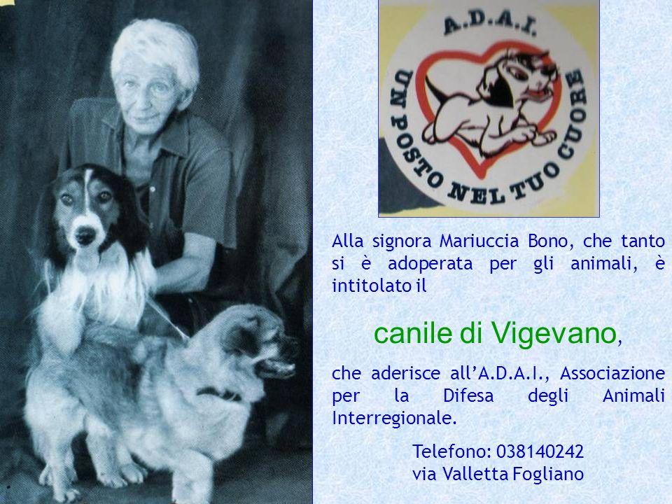 Alla signora Mariuccia Bono, che tanto si è adoperata per gli animali, è intitolato il canile di Vigevano, che aderisce allA.D.A.I., Associazione per