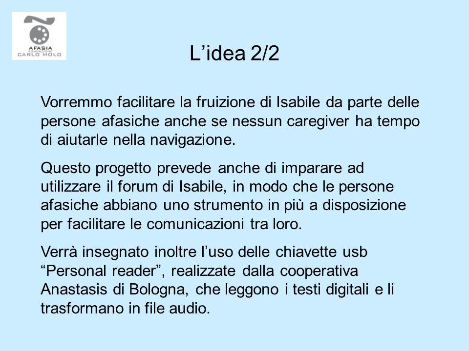 Lidea 2/2 Vorremmo facilitare la fruizione di Isabile da parte delle persone afasiche anche se nessun caregiver ha tempo di aiutarle nella navigazione.