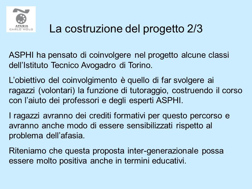 La costruzione del progetto 2/3 ASPHI ha pensato di coinvolgere nel progetto alcune classi dellIstituto Tecnico Avogadro di Torino.