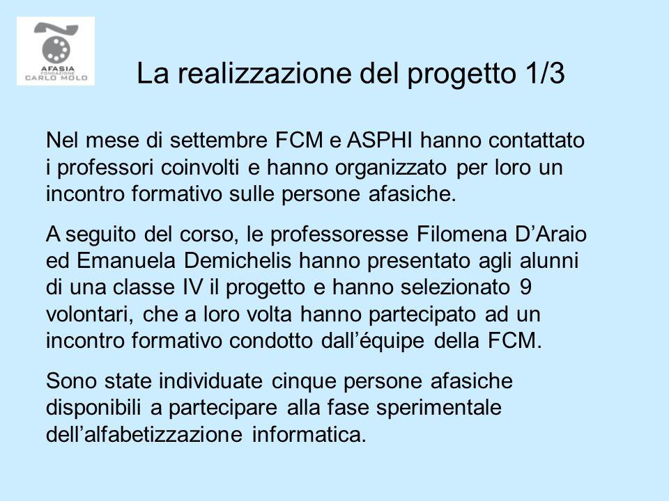 La realizzazione del progetto 1/3 Nel mese di settembre FCM e ASPHI hanno contattato i professori coinvolti e hanno organizzato per loro un incontro formativo sulle persone afasiche.