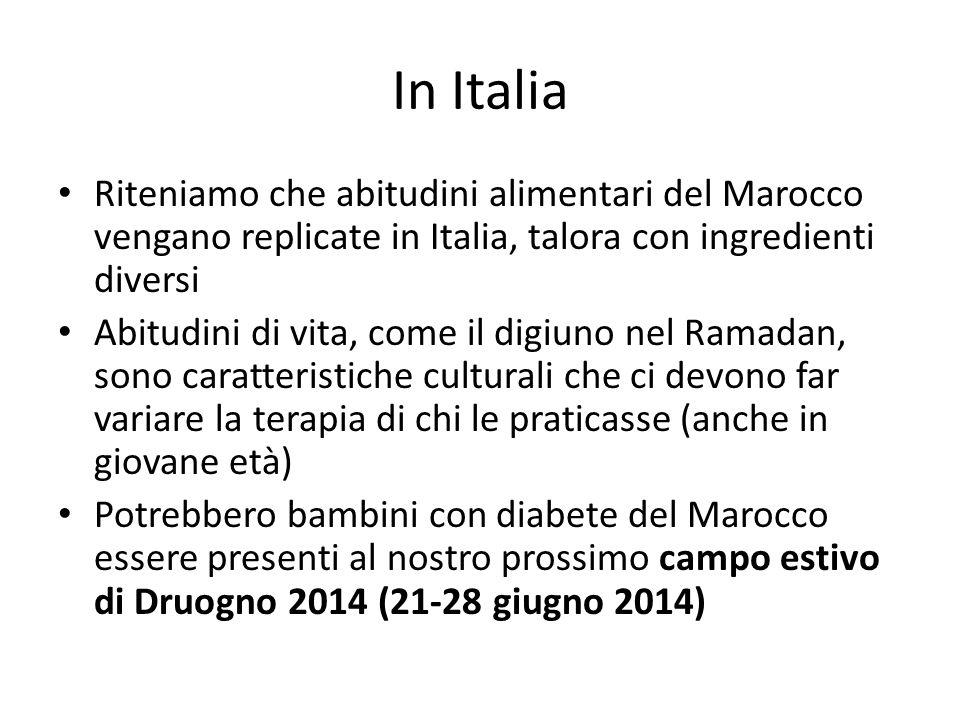 In Italia Riteniamo che abitudini alimentari del Marocco vengano replicate in Italia, talora con ingredienti diversi Abitudini di vita, come il digiuno nel Ramadan, sono caratteristiche culturali che ci devono far variare la terapia di chi le praticasse (anche in giovane età) Potrebbero bambini con diabete del Marocco essere presenti al nostro prossimo campo estivo di Druogno 2014 (21-28 giugno 2014)