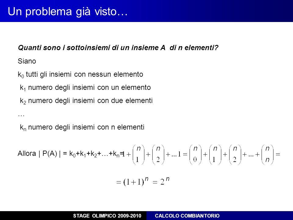 STAGE OLIMPICO 2009-2010 CALCOLO COMBIANTORIO Un problema già visto… Quanti sono i sottoinsiemi di un insieme A di n elementi? Siano k 0 tutti gli ins