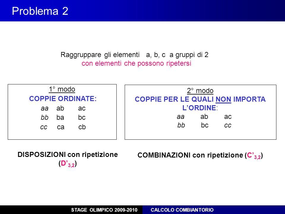 STAGE OLIMPICO 2009-2010 CALCOLO COMBIANTORIO Problema 2 Raggruppare gli elementi a, b, c a gruppi di 2 con elementi che possono ripetersi 1° modo COP