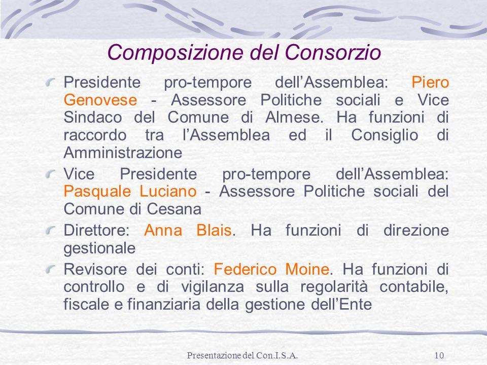 Presentazione del Con.I.S.A.10 Presidente pro-tempore dellAssemblea: Piero Genovese - Assessore Politiche sociali e Vice Sindaco del Comune di Almese.