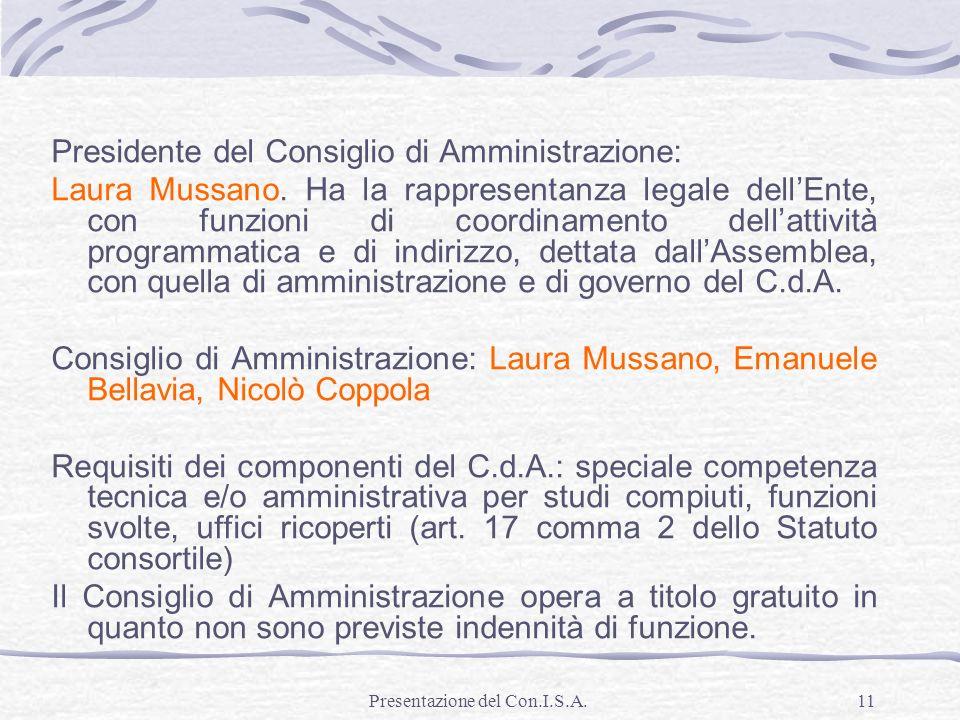 Presentazione del Con.I.S.A.11 Presidente del Consiglio di Amministrazione: Laura Mussano. Ha la rappresentanza legale dellEnte, con funzioni di coord