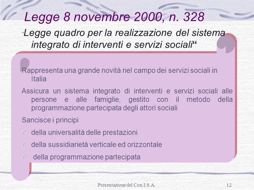 Presentazione del Con.I.S.A.12 Legge 8 novembre 2000, n. 328