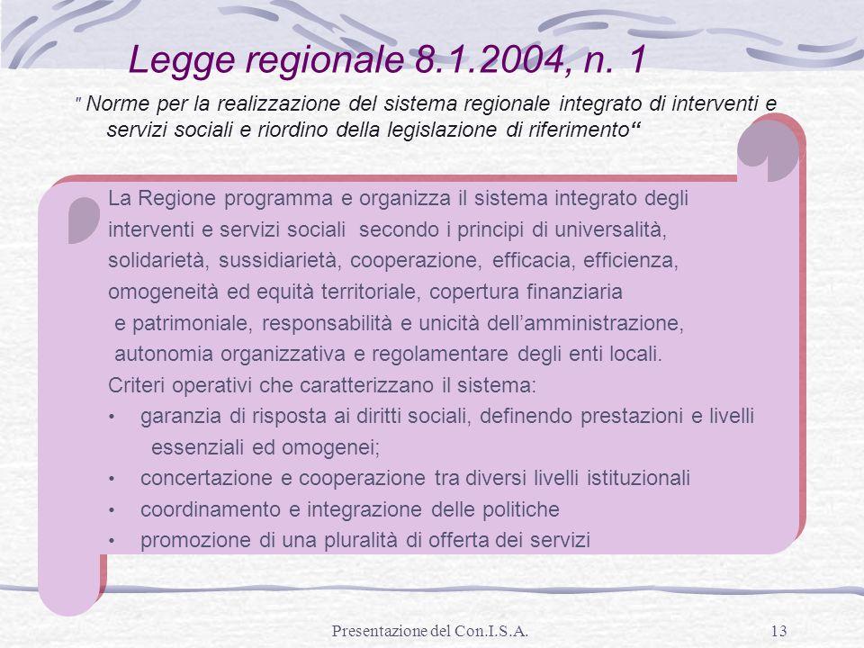 Presentazione del Con.I.S.A.13 La Regione programma e organizza il sistema integrato degli interventi e servizi sociali secondo i principi di universa