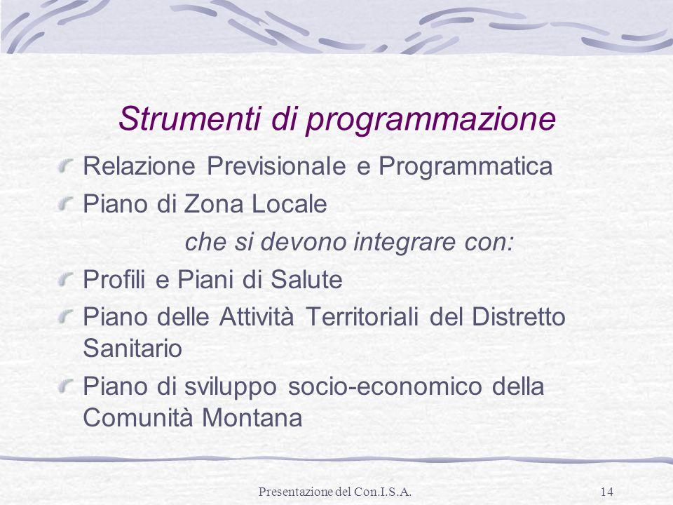 Presentazione del Con.I.S.A.14 Strumenti di programmazione Relazione Previsionale e Programmatica Piano di Zona Locale che si devono integrare con: Pr