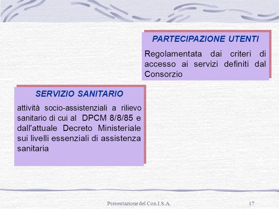Presentazione del Con.I.S.A.17 PARTECIPAZIONE UTENTI Regolamentata dai criteri di accesso ai servizi definiti dal Consorzio PARTECIPAZIONE UTENTI Rego