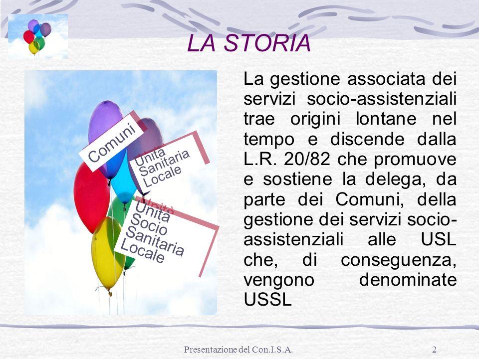 Presentazione del Con.I.S.A.2 LA STORIA La gestione associata dei servizi socio-assistenziali trae origini lontane nel tempo e discende dalla L.R. 20/