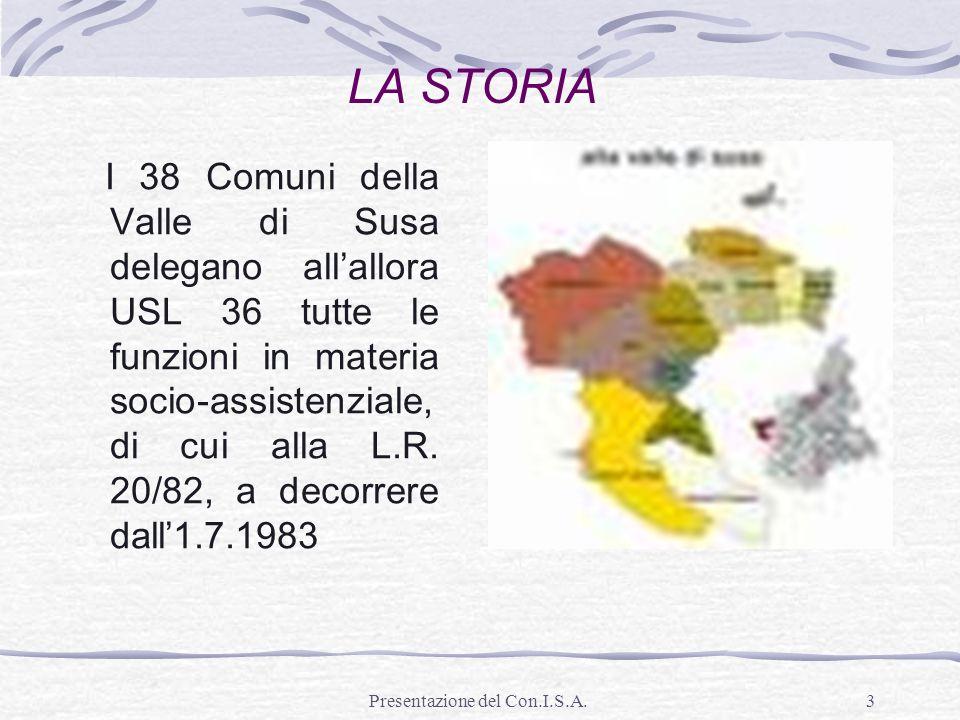 Presentazione del Con.I.S.A.3 I 38 Comuni della Valle di Susa delegano allallora USL 36 tutte le funzioni in materia socio-assistenziale, di cui alla