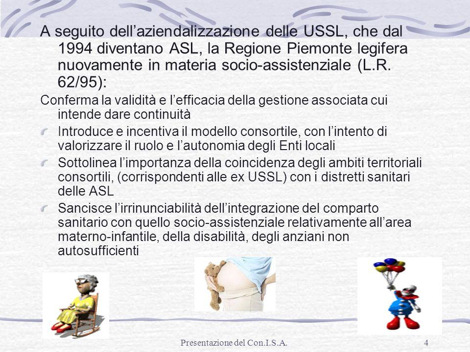 Presentazione del Con.I.S.A.4 A seguito dellaziendalizzazione delle USSL, che dal 1994 diventano ASL, la Regione Piemonte legifera nuovamente in mater