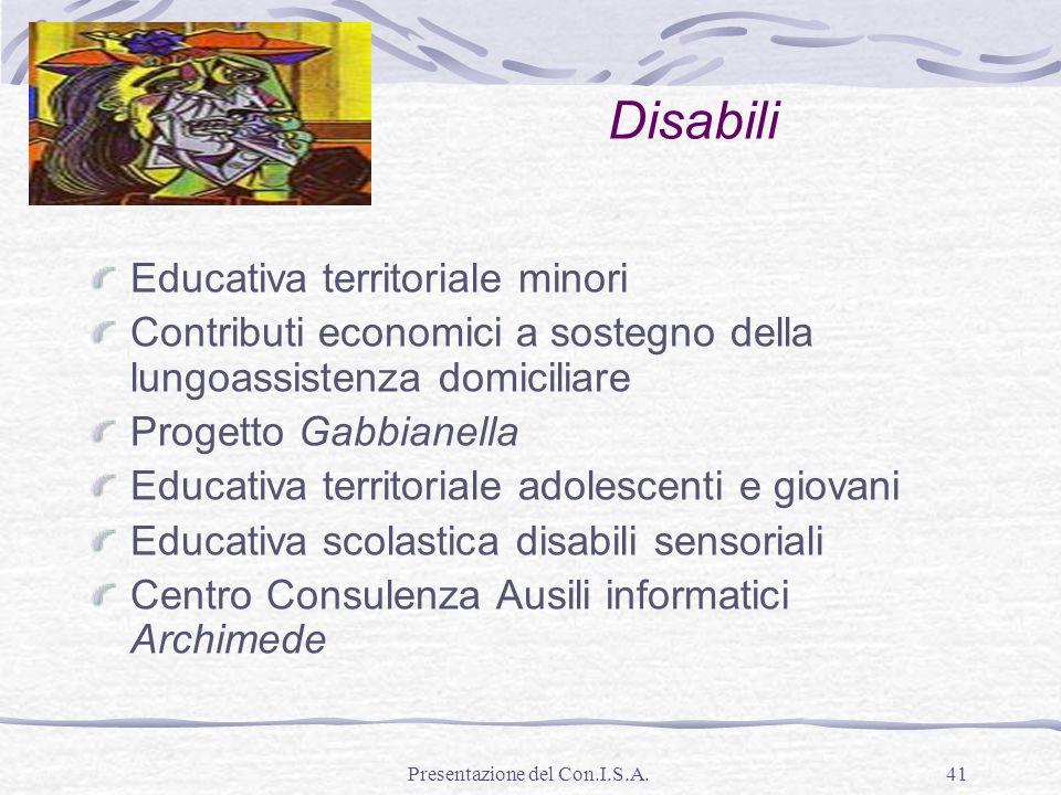 Presentazione del Con.I.S.A.41 Disabili Educativa territoriale minori Contributi economici a sostegno della lungoassistenza domiciliare Progetto Gabbi