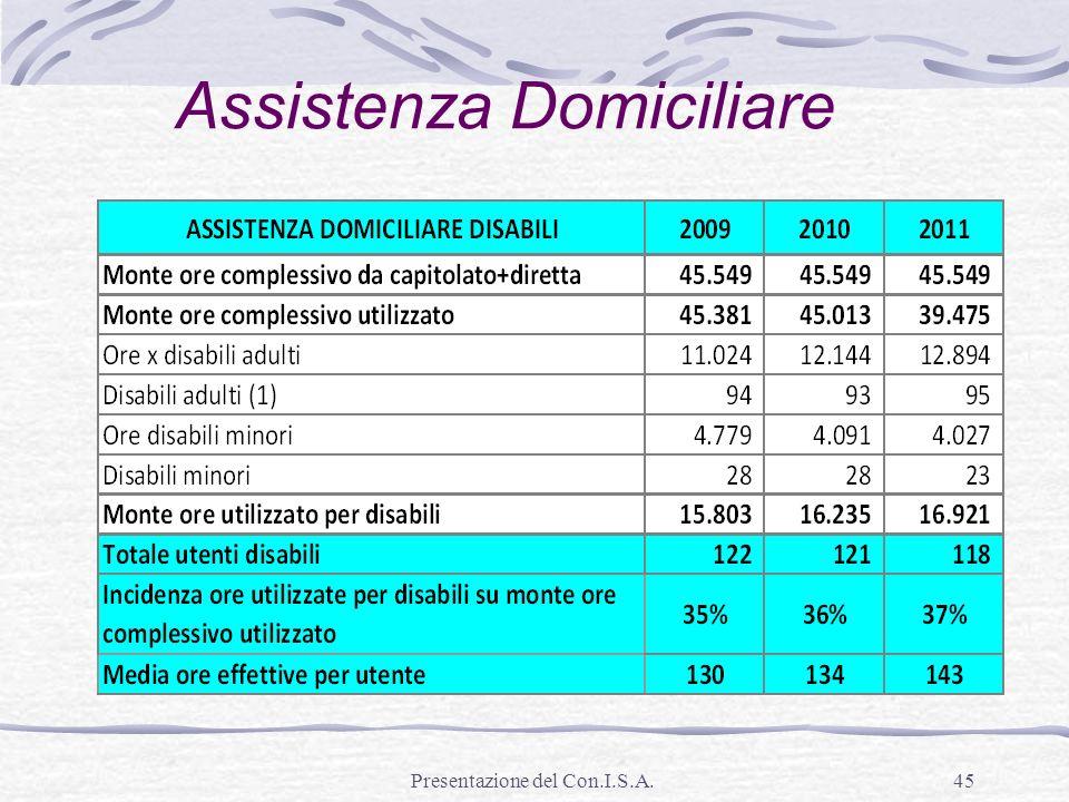 Presentazione del Con.I.S.A.45 Assistenza Domiciliare