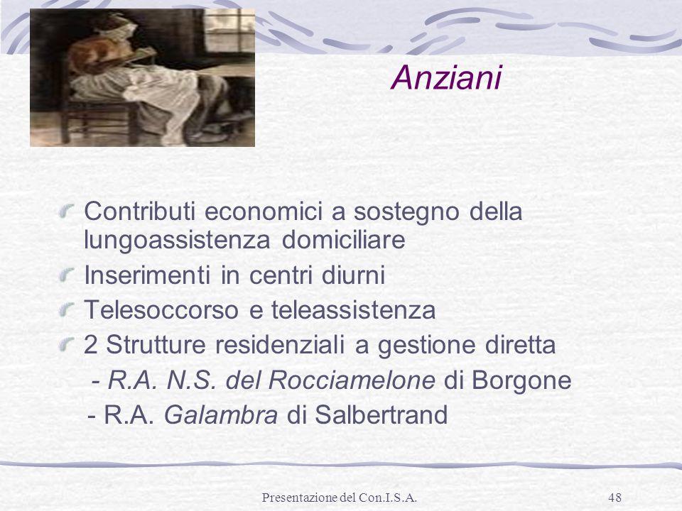 Presentazione del Con.I.S.A.48 Anziani Contributi economici a sostegno della lungoassistenza domiciliare Inserimenti in centri diurni Telesoccorso e t