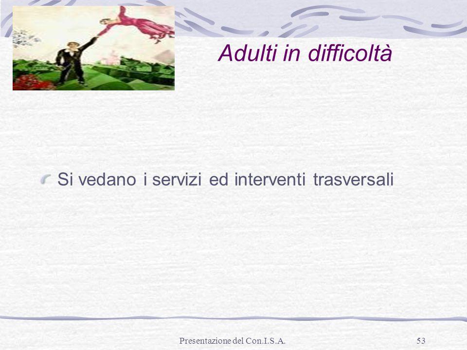 Presentazione del Con.I.S.A.53 Adulti in difficoltà Si vedano i servizi ed interventi trasversali