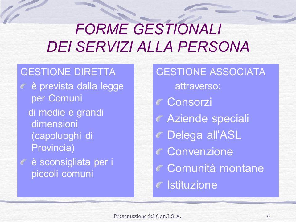 Presentazione del Con.I.S.A.6 FORME GESTIONALI DEI SERVIZI ALLA PERSONA GESTIONE DIRETTA è prevista dalla legge per Comuni di medie e grandi dimension