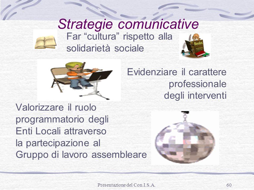 Presentazione del Con.I.S.A.60 Strategie comunicative Far cultura rispetto alla solidarietà sociale Evidenziare il carattere professionale degli inter